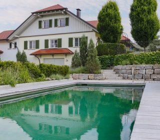 Livingpool mit Steintreppe und Natursteinmauer