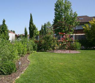Rasenfläche in romantischem Garten